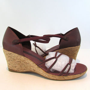 Teva Riviera Burgundy Wedge Strappy Sandals